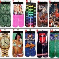 3d bedruckte socken großhandel-Neue 500 Socken des Entwurfs-3d großes Kinderfrauen-Mann-Hip Hop-lustiges Skateboard der Socken-3d Baumwollgedruckte Socke EEA249