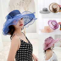 organza derby chapéus mulheres venda por atacado-Mulheres Kentucky Derby Chapéu de Sol Aba Larga Casamento Festa de Chá Igreja Organza Chapéus