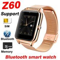 relojes de memoria al por mayor-Z60 Smart Watch Hombres Mujeres Soporte de tarjeta SIM 32GB TF Memoria Bluetooth Reloj Teléfono Reloj Metal Fitness Pulsera A1 Y1 Smartwatch Niños Relojes
