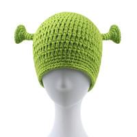ingrosso cappello a crochet adulto lavorato a mano-berretto di lana unisex verde Monster Shrek creativo divertente cappello lavorato a maglia cappello fatto a mano pura marea adulto uomini e donne berretto all'uncinetto
