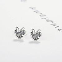 18k babyschmucksachen großhandel-Silber Farbe Niedliche Ohrstecker für Kinder Mädchen Kinder Baby Schmuck Weiß Mickey Form Funkelnde Minni Pandora Ohrringe
