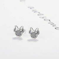 Wholesale mickey silver resale online - Silver Color Cute Stud Earrings for Children Girls Kids Baby Jewelry White Mickey Shape Sparkling Minni Pandora Earrings