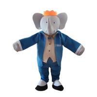 mascote dos desenhos animados do elefante venda por atacado-Mr. Blue Elephant Mascot Costume Outfits Adult Size Dos Desenhos Animados da mascote do traje Para O Carnaval Festival Vestido Comercial