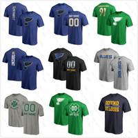 mavi baskı gömlek toptan satış-Özel Stanley Kupası St.Louis Blues 91 tarasenko 17 Schwartz 2019 Stanley Kupası Batı Konferans Şampiyonlar t-shirt Hokeyi gömlek Baskılı logo