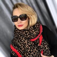 ingrosso sciarpa del cachemire del leopardo-Lakysilk Luxury Brand leopardo sciarpa di cachemire donne inverno caldo del progettista di modo delle signore Pashmina Scialle Foulard capo delle ragazze Sciarpe Y191017