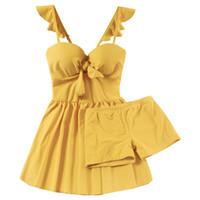 Wholesale yellow swim skirt online – 2019 New Women Yellow One Piece Swimwear Skirt Bathing Suit Swimming Dress Summer Sexy Underwire Swimsuit Beachwear