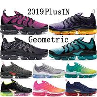 Wholesale teal green shoes resale online - 2019 New TN Plus Olympic Geometric Black White Pink Rise Spirit teal Grid Print lemon lime mens womens running shoes designer sneakers