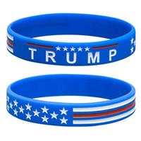 pulseiras de pulseira de borracha venda por atacado-Pulseira TRUMP Faça América Grande Novamente Letra Pulseira de Silicone Pulseira de Borracha Trump Apoiantes Pulseira Pulseiras Basquete EEA432