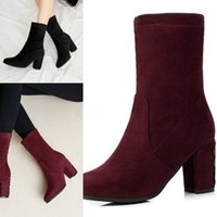 Wholesale womens ankle motorcycle boots for sale - Group buy Womens Ankle Martin Square Winter Suede Boots Chunky Heel Knight Boots Cow Leather Motorcycle Boots Size