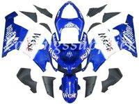 ninja zx6r kaplama kiti batı toptan satış-OEM Kalite Yeni ABS Enjeksiyon Kalıp grenaj kitleri Fit For Kawasaki Ninja ZX6R 2005 2006 Ninja ZX6R 05 06 Kaporta Mavi Beyaz West set
