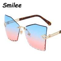 óculos de borboleta claros venda por atacado-Venda Por Atacado marca retro designer oversize óculos de sol mulher borboleta sem aro óculos de sol de luxo limpar óculos de sol homens uv400 oculos de so
