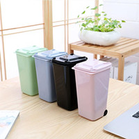 Wholesale mini trash bins for sale - Group buy Creative Mini Wheelie Trash Can Plastic Storage Bin Desktop Organizer Pen Pencil
