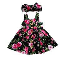 ingrosso vestito boho dal bambino-Summer Girls Dress Neonato Toddler Kids Baby senza maniche Button Flower Boho Sundress Fascia 2PCS Bambini