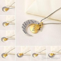 Wholesale crescent moon pendant necklace for sale - Group buy Necklaces Pendant Korean Jewelry Cheap Silver Crescent Moon Heart Charm I Love You to the Moon And Back Pendant Necklaces