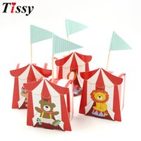 Wholesale circus party decorations resale online - 10PCS Cute Cartoon Circus Theme Party DIY Candy Box For Kids Birthday Party Baby Shower Decoration Candy Gift Box Supplies