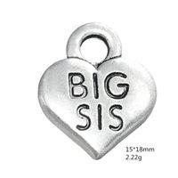 encantos de hermana mayor al por mayor-Plata antigua BIG SIS Corazón Colgante Familia Hermana Encantos Para Joyería Hecha A Mano Pulseras Collar Que Hace Accesorios de DIY 50 UNIDS