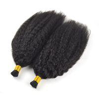 haarverlängerung keratin lockig großhandel-Brasilianisches reines Haar Ich spitze Echthaarverlängerungen 1g / s 100g natürliche schwarze Farbe verworrenes lockiges gerades Keratin-Stock 100% Huaman-Haar