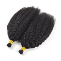 doğal renk brezilya kıvırcık saç toptan satış-Brezilyalı Bakire Saç I İpucu İnsan Saç Uzantıları 1 g / s 100g Doğal Siyah Renk Sapıkça Kıvırcık Düz Keratin Sopa 100% Huaman Saç