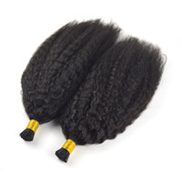 brésilien je pointe le bâton achat en gros de-Cheveux vierges brésiliens I Astuce Extensions de cheveux humains 1g / s 100g Naturel Noir Couleur Kinky Bouclés Droite Keratin Stick 100% Huaman Cheveux