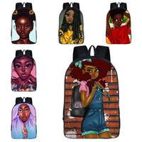 çocuklar için karakter sırt çantaları toptan satış-Afro Sevimli Kız Okul Sırt Çantaları 29 Tasarım Afrika Güzellik Karikatür Karakter Baskılı Okul Çantaları Çocuk Kız Dekompresyon Okul Kitap Çantaları 04