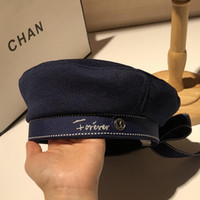 Wholesale party hats resale online - Autumn Winter Woman Hat Fashion Ribbon Bow Beret Letter Embroidery Winter Hats Vintage Male Beret French Hat Navy Cap