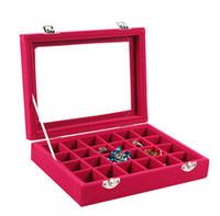 Wholesale women jewelery resale online - 24 Grids Velvet Jewelry Box Rings Earrings Necklaces Makeup Holder Case Organizer Women Jewelery Storage styles RRA2491