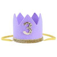 bandeau violet diadème achat en gros de-Bébé garçon fille premier anniversaire chapeau couronne numéros bandeau Tiara Party Photo Props violet 3
