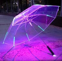 Wholesale flashlight adults resale online - New Umbrella With LED Umbrellas Flashlight Stage Prop Rib Light Up Flashlight Changing Color SSA44