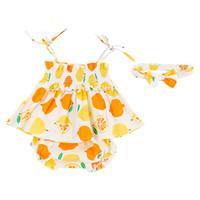 pp-группа оптовых-Kids Girls Clothing Sets Summer New Style  Strap Off Shoulder Slash neck Lemon Print Tops PP Pants Hair Band Outfits Sets