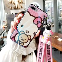 Wholesale kitty for iphone for sale – best For iphone plus Cartoon Hello Kitty Case Cute KT Soft Back Case For iphone XR XS max X s sp plus fundas toy straps