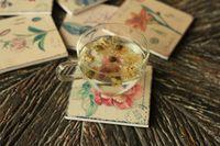 hölzerne bierdeckel großhandel-Satz von 6 hölzernen Blumenmuster Druck Tischset Untersetzer Wohnaccessoires Vintage Style Holz Untersetzer Shabby Chic Tasse Matte