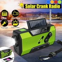 rádio portátil de energia solar venda por atacado-Banco solar da energia solar do rádio da emergência AM / FM WB do tempo da emergência da manivela solar 2000Mah recarregável