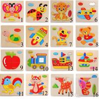 cartoon hübsches puzzle tier großhandel-3D Puzzles Holzspielzeug Für Kinder Cartoon Tier Verkehr Rätsel Intelligenz Kinder Frühe Lernspielzeug Training Spielzeug
