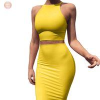 подходящая желтая юбка оптовых-Обрезка топ и юбка Две пьесы платье Set Yellow Club Summer Matching сексуальная одежда для женщин Комплекты D53 Az17