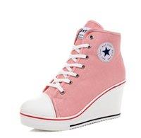 gizli takozlar platform çizme toptan satış-Yıldız Kadın Ayakkabı Platformu 2019 Gizli Kama Çizmeler Kadınlar Için Yüksek Topuk Üst Kanvas Ayakkabılar Rahat Ayakkabılar Bayanlar Tüm Boyut 35-42