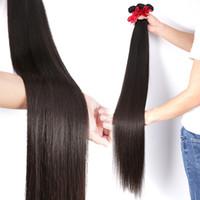 32 insan saç perukları toptan satış-Toptan Brezilyalı peruk Örgü Demetleri Düz İnsan Saç 30 32 40 Inç 10 Demetleri Ham Bakire Atkı Saç Uzatma
