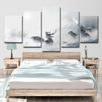 Wholesale group oil painting wall art resale online - HD Printed Piece Canvas Art White Howling Wolf Group Deer Painting Wall Pictures for Living Room Decor