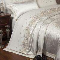 Wholesale jacquard silk bedding set gold resale online - 4pcs Sliver Gold Luxury Silk Satin Jacquard Duvet Cover Bedding Set Queen King Size Embroidery Bed Set Bed Sheet Fitted Sheet Set