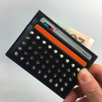 kimlik kartı cepli toptan satış-Erkek İnce KIMLIK Kartı Cüzdan Çanta Kılıfı Klasik Perçin Siyah Deri Kredi Kartı Tutucu 2019 Yeni Banka Kartı Kasa Sikke çanta Küçük Cep Çantası