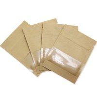 poder marrom venda por atacado-9 * 13 cm 100 pcs marrom e branco pacote de papel kraft translúcido pacote de janela saco de fundo plano de embalagem zip lock pouch saco de armazenamento de energia