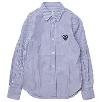 şeritli erkek kıyafeti gömlekleri toptan satış-Üst Kalite CDG Çizgili Gömlek Erkek Moda Kırmızı Kalp Gömlek Siyah / Kırmızı Kalp Nakış Rahat Gömlekler Sokak Trend Erkekler Kadınlar Tops