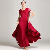 vêtements de salle de bal achat en gros de-2019 nouvelle robe de danse en dentelle rouge robes de danse de salle de bal robes de valse pour vêtements de danse valse renard flamenco costumes de danse
