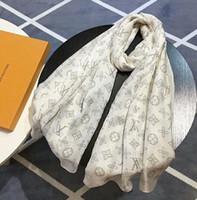 cachecol de seda de caxemira branca venda por atacado-Presente de Natal de alta qualidade de design celebridade 100% algodão de seda do envoltório do lenço Carta xale impressão lenços longa 180 * 70CM brancas