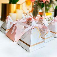 bomboniler için kutular toptan satış-50 adet Yeni Üçgen Piramit Mermer Şeker Kutusu Düğün Iyilik ve Hediyeler Kutuları Çikolata Kutusu Bomboniera Eşantiyon Kutuları Parti Malzemeleri