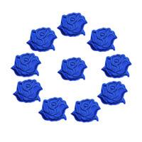ingrosso abito ricamato blu-10 PZ Ricamato Cucire Ferro Sulle Zone Royal Blue Rose Fiori Distintivi 4 CM Per Jeans Tovaglia Abito Camicia Appliques FAI DA TE Decorazione Del Mestiere
