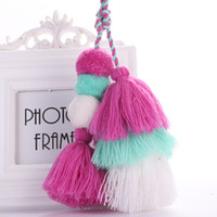 Wholesale plated spike pendant resale online - Bohemian Handmade Bag Pendant Women Accessories Charm Pompom Keychain Multicolor With Tassels Gift bag car charm keyring