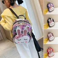 linda mochila de conejo al por mayor-Muchacha de los niños Lentejuelas Mochila Orejas de Conejo Linda Bolsa de Hombro Mini Mochilas Niños Lentejuelas Mochila de Viaje Mochila Escolar