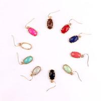 facettierte ovale perlen großhandel-Kendra Style Designer inspiriert Abalone Muschel facettiert Harz Perlen Stein kleine niedliche ovale Ohrhänger Ohrringe für Frauen