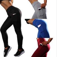 Wholesale yoga pants red grey resale online - Yoga Pants Sport Leggings Tights Trousers Running Women Fitness Bodybuilding Slim Good Elasticity Ventilation colors MMA1610