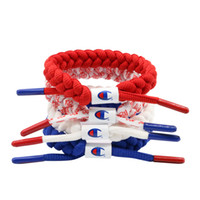 Wholesale china blue accessories resale online - Unisex Champions Letter Shoelace Wristband Bracelet Nylon Sneakers Jewelry Braided Bracelets Street Fashion Accessories White Blue C41206